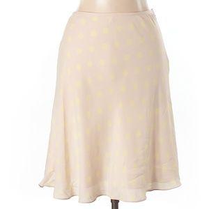 TSE Tan Polka dot Swing Knee L Silk Skirt Size 4